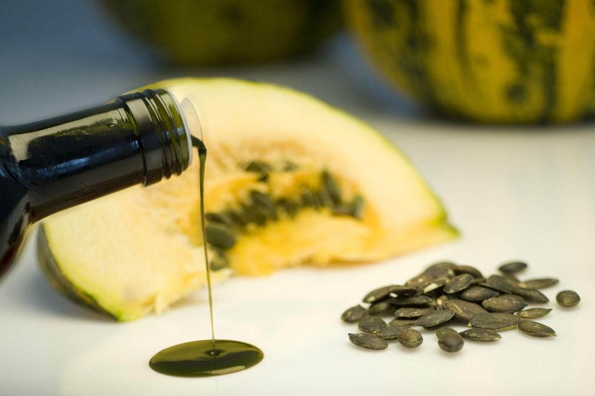 Pumpkin Oil being poured